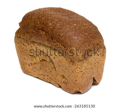 rye bread on a white background - stock photo
