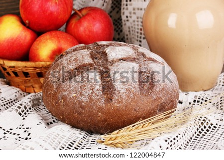 Rye bread on autumn composition background close-up