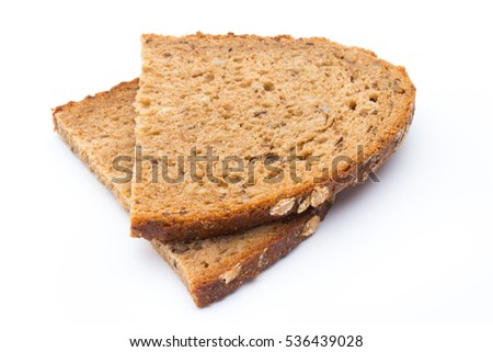 Rye bread slice on a white background.