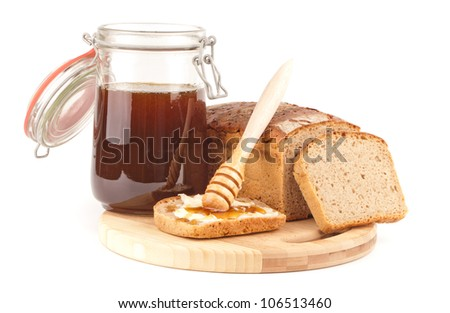 rye bread with honey meal - stock photo