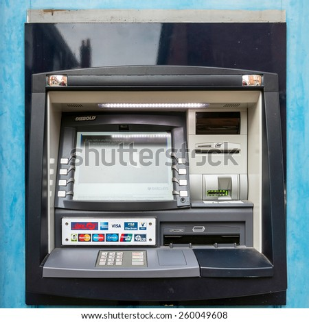 RYE, EAST SUSSEX/UK - MARCH 11 : Cash machine in Rye East Sussex on March 11, 2015 - stock photo