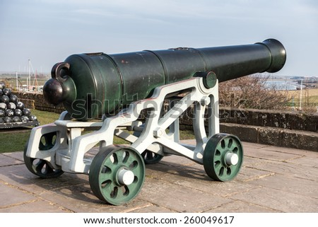 RYE, EAST SUSSEX/UK - MARCH 11 : View of a cannon at the Castle in Rye East Sussex on March 11, 2015