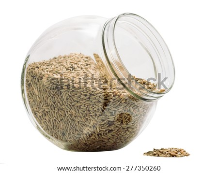 rye grain drops out glass tare - stock photo
