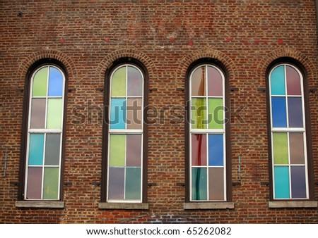 Ryman Auditorioum Nashville tennessee, Stained glass windows - stock photo