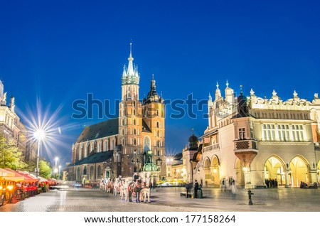 Rynek Glowny - The main square of Krakow in Poland - stock photo