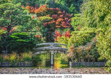 Ryoan-ji Garden in Kyoto, Japan  - stock photo