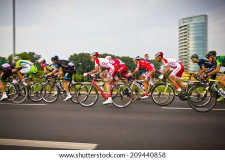 RZESZOW, POLAND - AUGUST 05: Cycling race Tour de Pologne, stage 3 in Rzeszow. 71th Tour de Pologne, Stage 3 Kielce - Rzeszow 05 August 2014 wins Theo Bos - stock photo