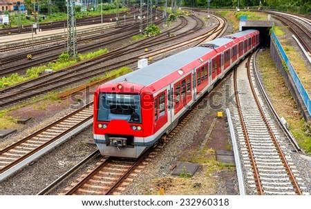 S-Bahn train in Hamburg Hauptbahnhof station - Germany - stock photo