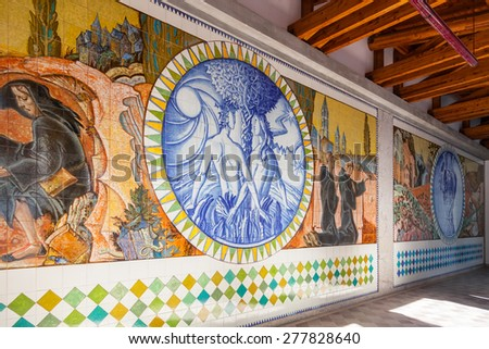S. Bento da Porta Aberta, Portugal. April 06, 2015: Adam, Eve and Eden. Crypt tiles with Bible and St Benedict life. Pope Francis raised the Sanctuary to Basilica in the 400th anniversary, March 21st - stock photo