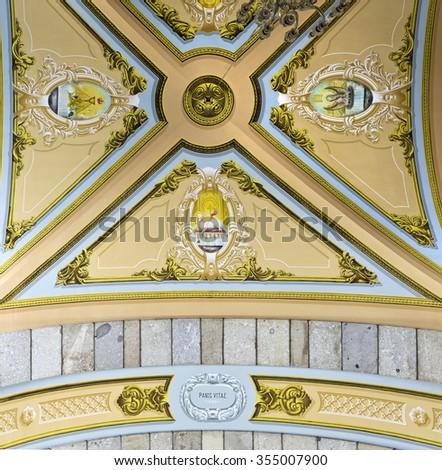 S. BENTO DA PORTA ABERTA, PORTUGAL � OCTOBER 18, 2015: Detail of the ceiling of the Basilica of S. Bento da Porta Aberta, on October 18, 2015, in S. Bento da Porta Aberta, Portugal - stock photo