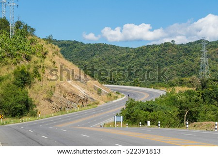 S-Curve Road On A Hill