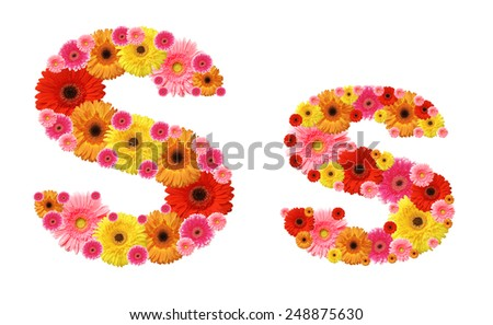 s, flower alphabet - stock photo