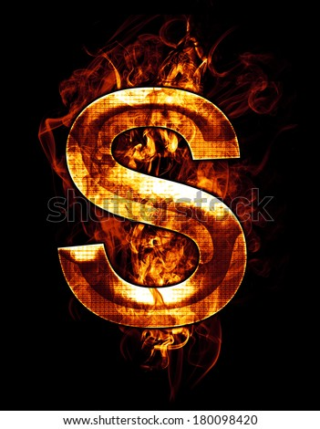 s, illustration of  letter with chrome effects and red fire on black background - stock photo