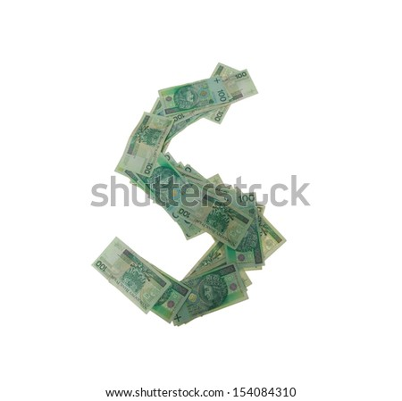 S letter  character- isolated with clipping patch on white background. Letter made of Polish hundred zlotys green bank notes - 100 PLN. - stock photo
