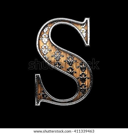 s silver letter. 3D illustration