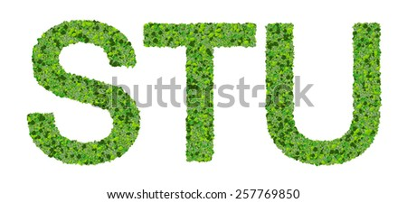 S T U alphabet letters made from green leaves isolated on white background. - stock photo