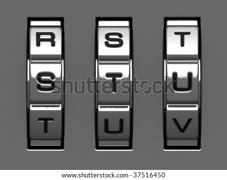 S, T, U letters from combination lock alphabet - stock photo