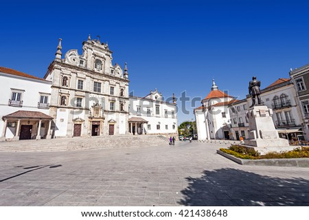 Sa da Bandeira Square with a view of the Santarem See Cathedral aka Nossa Senhora da Conceicao Church, built in the 17th century Mannerist style. Portugal - stock photo