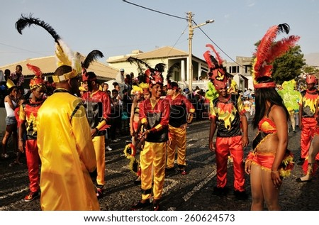 Saõ Filipe Fogo Cabo Verde - February 17 2015: The first carnival group gets ready to begin parading on the island of Fogo during the carnival ceremony