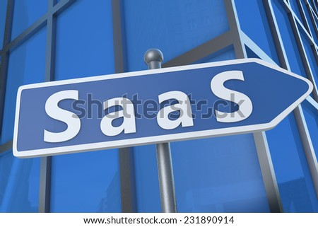 SaaS - Software as a Service - illustration with street sign in front of office building. - stock photo