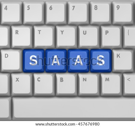 SAAS - Software as a Service - on  Button Computer Keyboard, 3d rendering