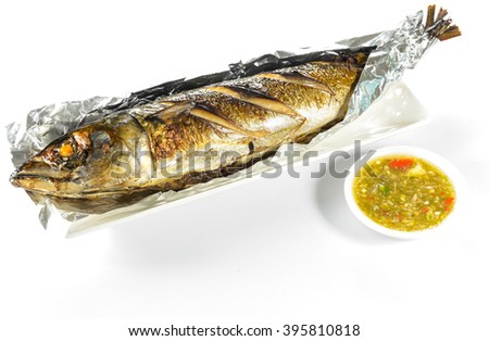 saba fish grilled on white background