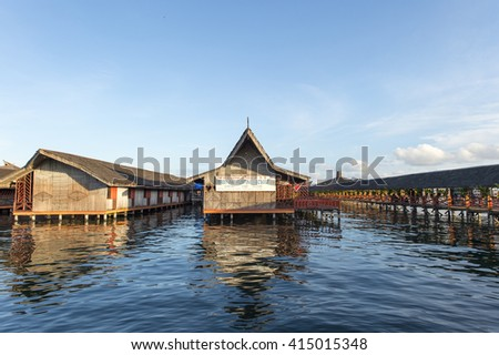 Sabah, Malaysia-April 23, 2016:Dragon Inn Floating Resort is a popular resort among tourist located in Semporna, Sabah.