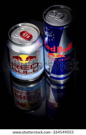 SABAH, MALAYSIA- January 13, 2015.  Cans of Red Bull.