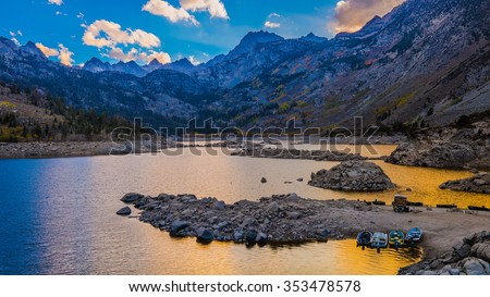 Sabrina Lake sunset.  Eastern Sierra Mountains near Bishop, California USA. - stock photo