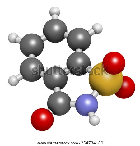 Saccharin artificial sweetener molecule. Atoms are represented as spheres with conventional color coding: hydrogen (white), carbon (grey), nitrogen (blue), oxygen (red), sulfur (yellow). - stock photo