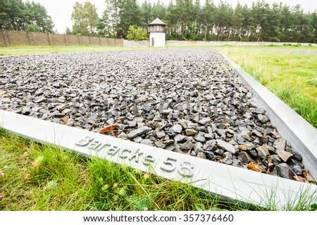 Sachsenhausen, Nazi concentration camp in Oranienburg, Germany  - stock photo