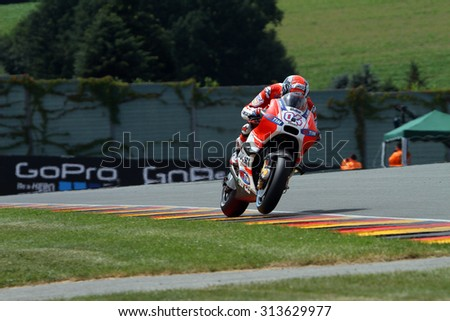SACHSENRING - GERMANY, JULY 11: Italian Ducati rider Andrea Dovizioso at 2015 GoPro MotoGP of Germany on July 11, 2015