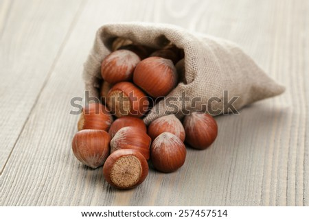 sack bag full of hazelnuts, rustic style photo - stock photo