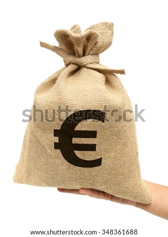 Sack bag with money Euroes. (with PATH) - stock photo
