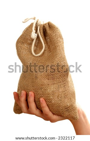 Sack of gold isolated on white background - stock photo