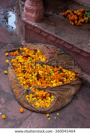 Sack of marigolds that are used for making flower chains. Marigolds are supposed to bring good luck and often hung in places for good fortune. - stock photo