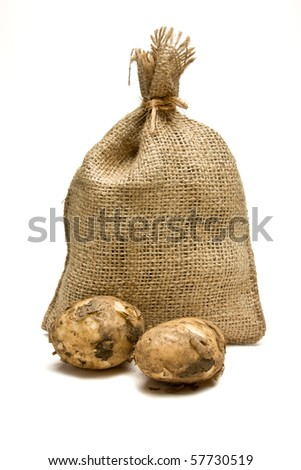 Sack of new potatoes from low perspective isolated against white background.