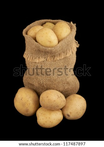 Sack of potatoes isolated on black