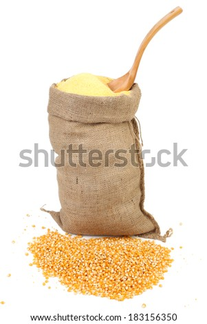 Sack with corn grains and flour. Isolated on a white background. - stock photo