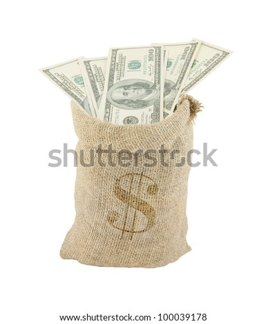 Sack with dollars isolated on white - stock photo