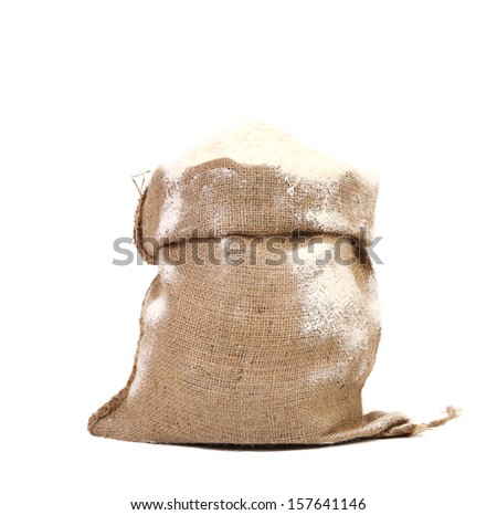 Sack with wheat flour. Isolated on a white background.
