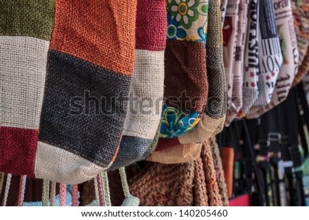 sackcloth bag made from recycled canvas sack - stock photo