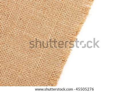 sackcloth material on white background
