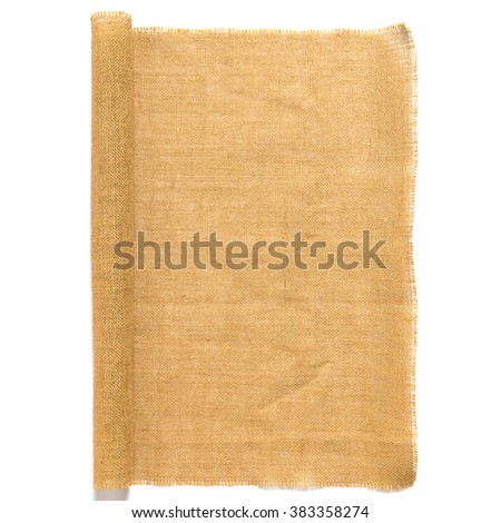 Sackcloth or burlap texture isolated on white background