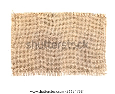 sackcloth tags set, burlap, canvas, over white - stock photo