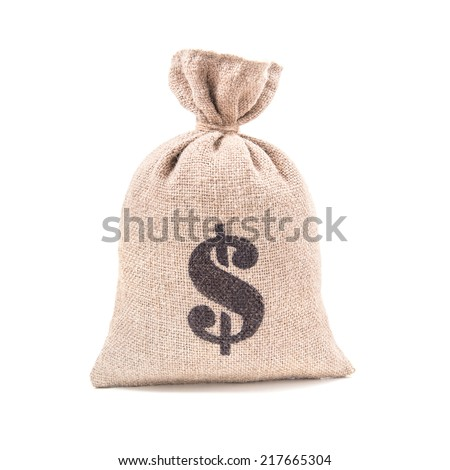 Sacking money bag with dollar symbol print tied with a string isolated on white background - stock photo