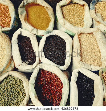 Sacks Legumes Grains Seed Lantil Ingredient Concept - stock photo
