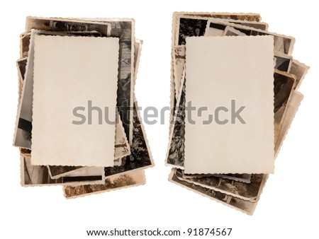 Sacks of old photographs with blank photo on the top - stock photo