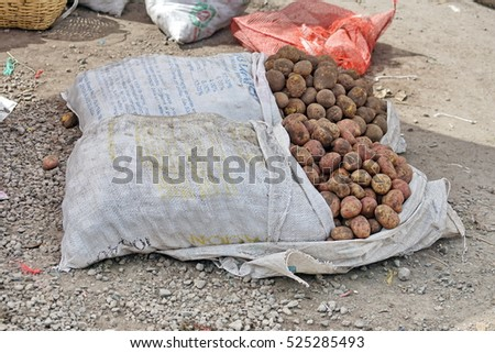Sacks of potatoes at the Otavalo Potato Market