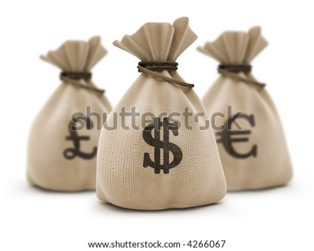 Sacks with money different currencies dollar euro and pound. 3d rendered illustration. Isolated on white background